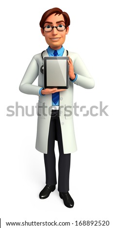 Doctor with i pad - stock photo