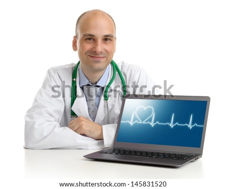 doctor with laptop. Health care concept - stock photo