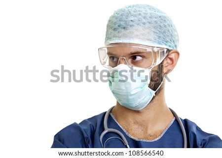 Doctor with mask isolated against a white background