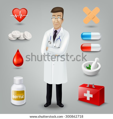 Doctor with medical object. Rasterized Copy - stock photo