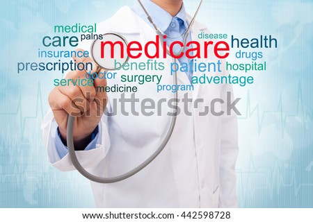 Doctor with medicare word cloud. medical concept - stock photo