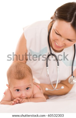 Doctor with newborn child on a white - stock photo