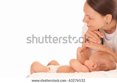 Doctor with newborn on a white - stock photo