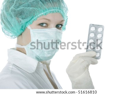 Doctor with pills - stock photo