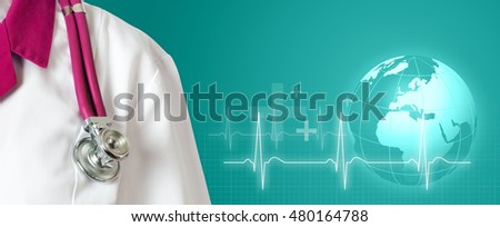 Doctor with pink stethoscope on green background
