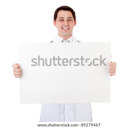 Doctor with placard - stock photo