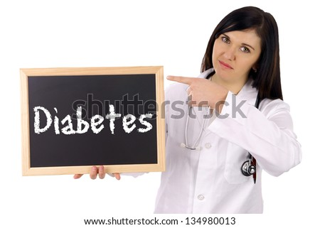 Doctor with sign and the word Diabetes / Diabetes