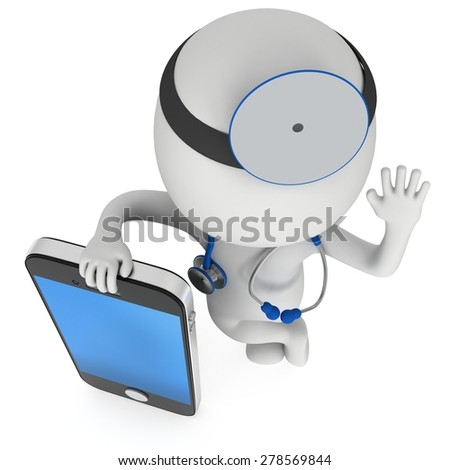 Doctor with smartphone. Stethoscope and mirror on his head. 3d render man isolated on white. Medicine, healthcare and mobile phone concept. - stock photo