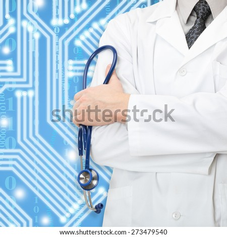 Doctor with stethoscope and blue circuit on background - stock photo
