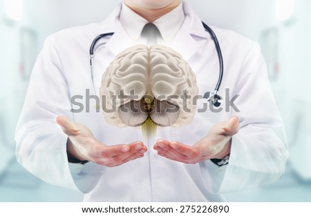 Doctor with stethoscope and brains on the  hands in a hospital. High resolution.  - stock photo