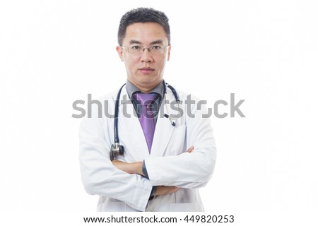 Doctor with stethoscope around neck on white background