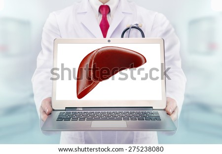 Doctor with stethoscope in a hospital. liver  on the laptop monitor. High resolution.  - stock photo