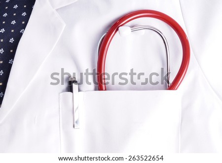 Doctor with stethoscope in pocket. Ready for meeting the patient and do the examination - stock photo
