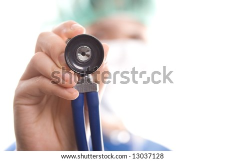 Doctor with stethoscope isolated on a white background. Medical concept. - stock photo