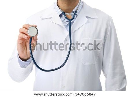 Doctor with stethoscope isolated on white background, close up