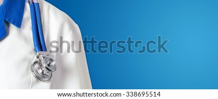 Doctor with stethoscope on blue background - stock photo