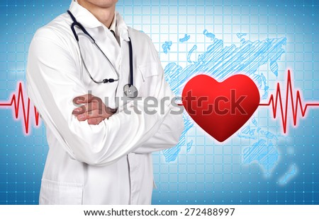 doctor with stethoscope, pulse and heart on background
