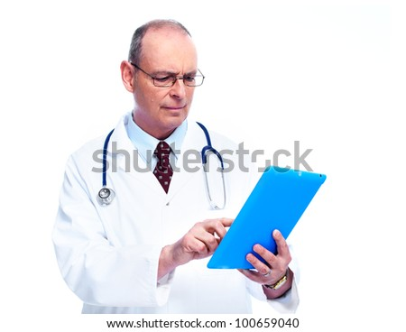 Doctor with tablet computer. Isolated on white background. - stock photo
