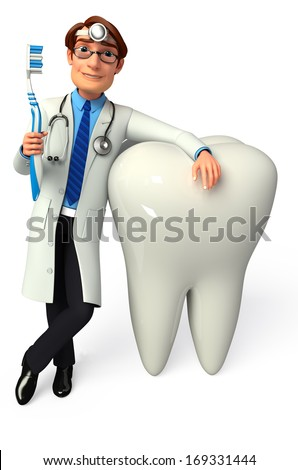 Doctor with toothbrush and teeth - stock photo