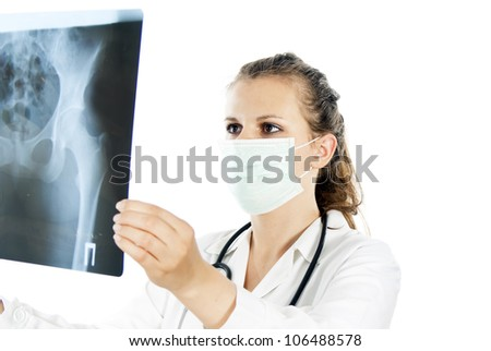 doctor with x-ray photograph an isolated