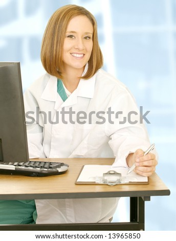 doctor woman in medical uniform sitting and writing on clip board showing happy expression and looking at camera