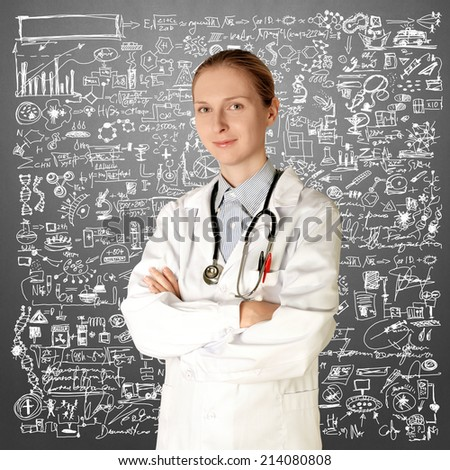 doctor woman smile at camera isolated on different backgrounds