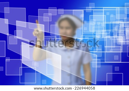 doctor woman use innovative technologies and touch empty touchscreen with empty button copy space in the air on blue background - stock photo