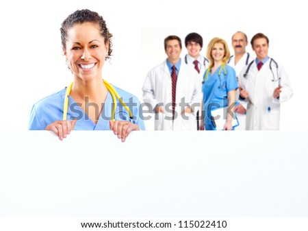 Doctor woman with a banner. Isolated on white background. - stock photo