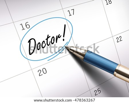 Doctor words circle marked on a calendar by a blue ballpoint pen