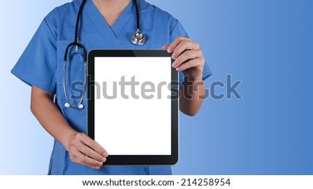 Doctor working with tablet computer background - stock photo