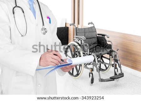Doctor writing a medical prescription with medical background - stock photo