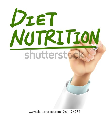 doctor writing diet nutrition words in the air