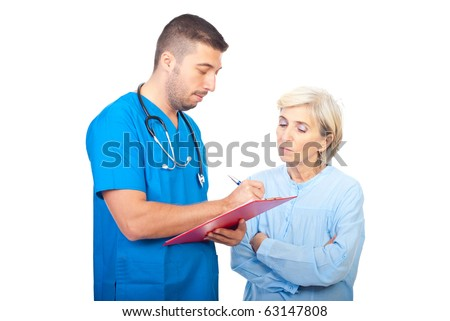 Doctor writing prescription for senior patient woman and giving explanation isolated on white background - stock photo