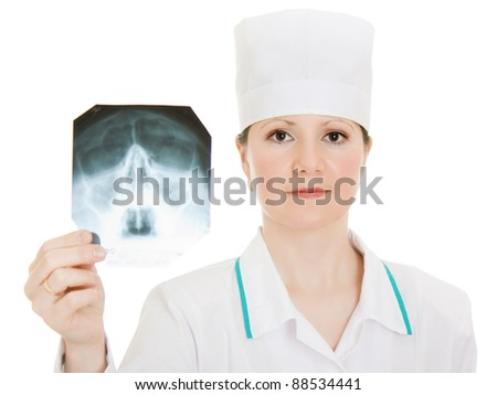 Doctor X-ray study on a white background.