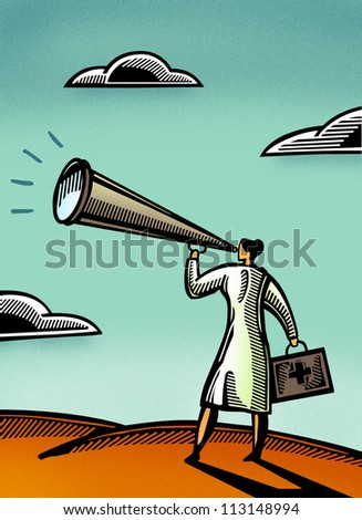 Doctor yelling into a megaphone