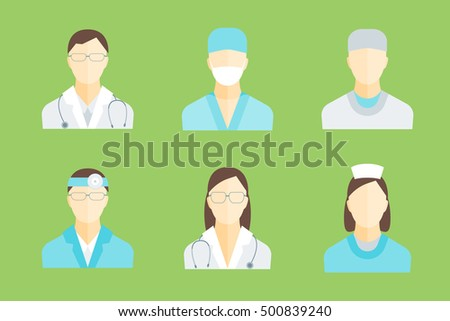 Doctors and Medical Staff Set for Emergency and Hospital. Flat Design Style. illustration