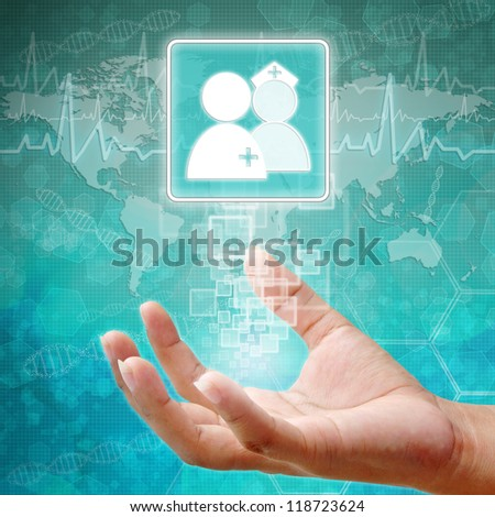 Doctors and Nurse Symbol on hand, medical icon  - stock photo
