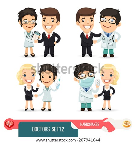 Doctors Cartoon Characters Set1.2. Isolated on White Background. Clipping paths included. - stock photo