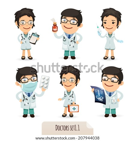 Doctors Cartoon Characters Set1.1. Isolated on White Background. Clipping paths included. - stock photo