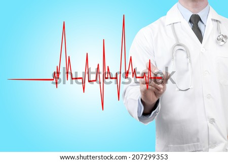 doctors drawing chart electrocadiogram (ECG) of ratio heartbeat on virtual screen concept for medical diagnosis