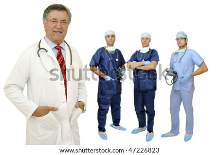 Doctors team in uniform isolated in white - stock photo