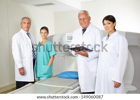 Doctors team with nurse in radiology in a hospital
