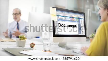 Document Data Paper Database Concept - stock photo