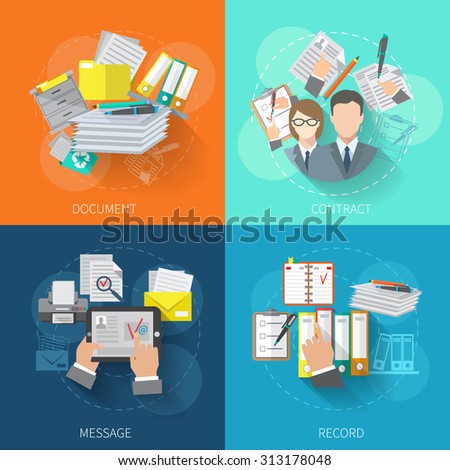 Document design concept set with contract message record flat icons isolated  illustration - stock photo