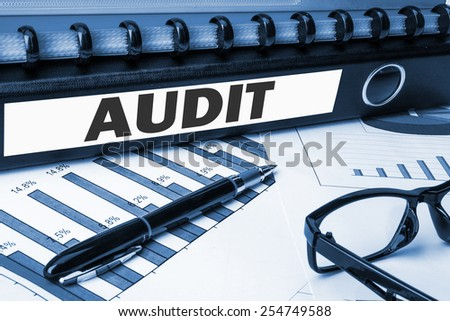 document folder with label audit - stock photo