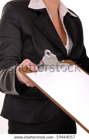 Document  in business woman hands with proposition for signature