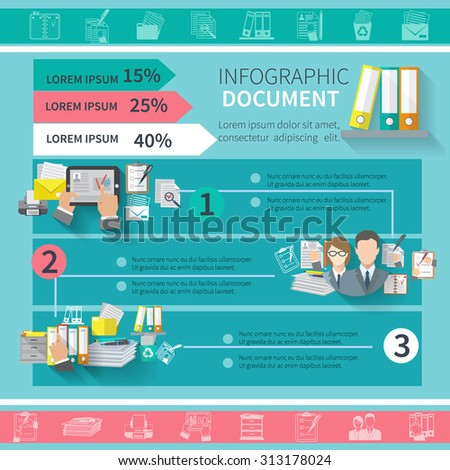 Document infographics set with contract office supplies organizing elements and charts  illustration - stock photo