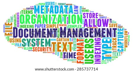 Document Management - colorful word cloud isolated on white background