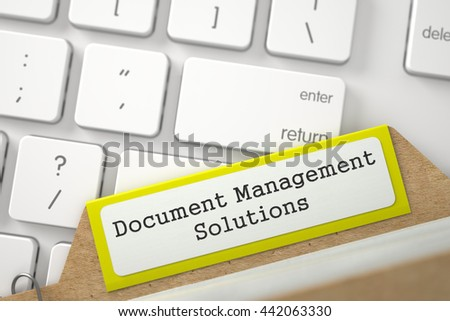 Document Management Solutions. Yellow Sort Index Card on Background of White PC Keypad. Business Concept. Closeup View. Blurred Illustration. 3D Rendering. - stock photo
