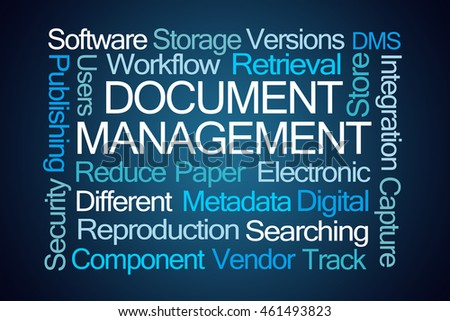 Document Management Word Cloud on Blue Background